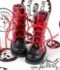 13-15  Blythe/Pullip 靴.格子赤い+赤い靴ひも