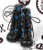 13-18 Blythe/Pullip 靴.黒い底+濃い青ドクロ