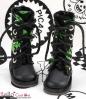 13-19 Blythe/Pullip 靴.黒い底+濃い緑ドクロ
