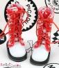 13-20 Blythe/Pullip 靴.白い底+赤ドクロ