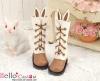 25-2 Blythe/Pullip ウサギの耳5穴ブーツ.Brown 褐色